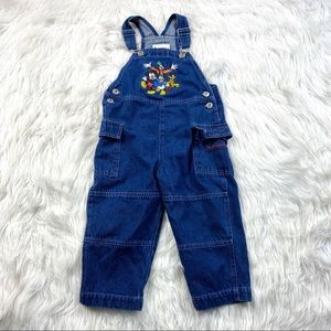 VTG Walt Disney World Kids Denim Overalls Mickey